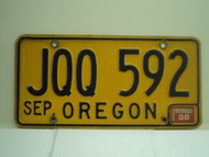 1988 OREGON License Plate JQQ 592