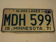 1971 1972 MINNESOTA 10,000 Lakes License Plate MDH 599