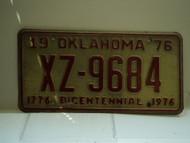 1976 OKLAHOMA Bicentennial License Plate XZ 9684