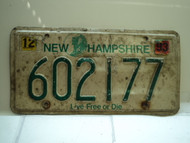 1993 NEW HAMPSHIRE Live Free or Die License Plate 602177