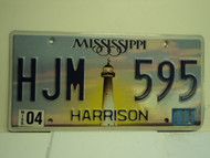 2011 MISSISSIPPI Lighthouse License Plate HJM 595