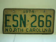 1974 NORTH CAROLINA License Plate ESN 266