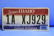 2006 IDAHO Scenic Famous Potatoes License Plate 1A XJ929