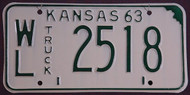 1963 WL Wilson Co Kansas Truck License Plate