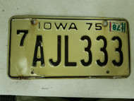 1975 Iowa Black Hawk County License Plate AJL333 Triple Three