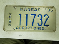 1985 Kansas Apportioned Truck License Plate 11732