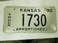 1990 Kansas Apportioned Truck License Plate 1730