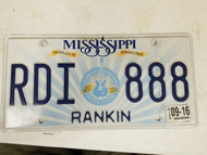 2016 Mississippi Rankin County License Plate RDI 888 Triple Eight