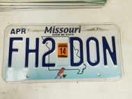 2014 Missouri Show Me State License Plate FH2 DON