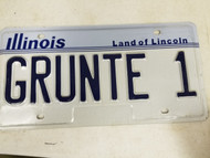 Illinois Land of Lincoln License Plate GRUNTE 1 Vanity