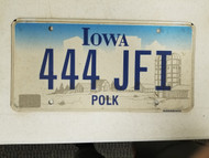 Iowa Polk County License Plate 444 JFI Triple Four