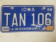 1986 Iowa Woodbury County License Plate Tan 106