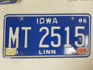 1986 Iowa Linn County License Plate MT 2515