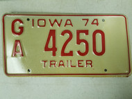 1974 Iowa Trailer License Plate GA 4250
