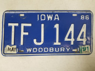 1986 Iowa Woodbury County License Plate TFJ 144