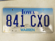 1998 Iowa Warren County License Plate 841 CXO