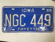 1986 Iowa Fayette County License Plate NGC 449