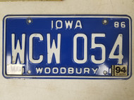 1986 Iowa Woodbury County License Plate WCW 054