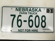 2011 Nebraska Farm Truck Not For Hire Dundy County License Plate 76-608