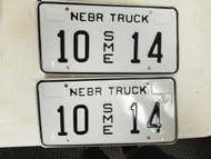 Nebraska Special Mobile Equipment Truck Platte County License Plate 10 14 Pair