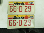1989 Nebraska Cherry County Dealer License Plate 66-D 29 Pair
