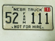 2005 Nebraska Kearney County Farm Truck Not For Hire License Plate 52 111 Triple One