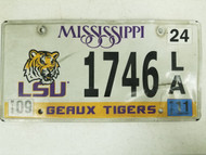 2011 Mississippi LSU Geaux Tigers License Plate 1746 LA