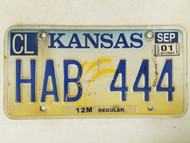 2001 Kansas Cowley County License Plate HAB 444 Triple Four
