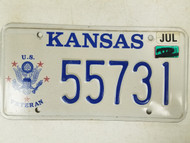 2008 Kansas US Veteran License Plate 55731