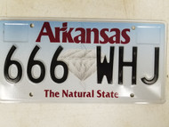 Arkansas The Natural State License Plate 666 WHJ Satan Devil