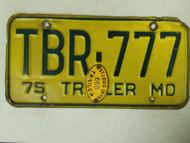1975 Missouri Trailer License Plate TBR-777 Triple Seven