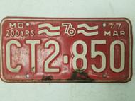 1977 Missouri 1976 200 Years License Plate CT2-850