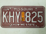 1997 Missouri Show-Me State License Plate KHY 825