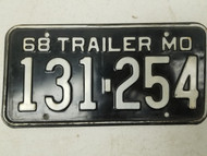 1968 Missouri Show-Me State License Plate 131-254
