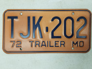 1972 Missouri Trailer License Plate TJK-202