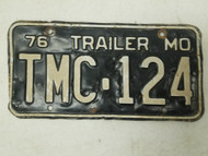 1976 Missouri Trailer License Plate TMC-124
