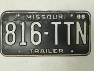 1988 Missouri Trailer License Plate 816-TTN