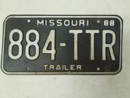 1988 Missouri Trailer License Plate 884-TTR