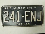 1992 Missouri Trailer License Plate 241-ENJ