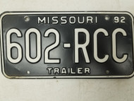 1992 Missouri Trailer License Plate 602-RCC