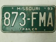 1993 Missouri Trailer License Plate 873-FMA