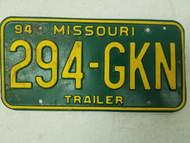 1994 Missouri Trailer License Plate 294-GKN