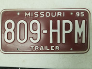 1995 Missouri Trailer License Plate 809-HPM