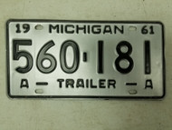 1961 Michigan Trailer License Plate 560-174