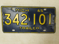 1965 Michigan Trailer License Plate 342-101