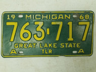 1968 Michigan Great Lake State Trailer License Plate 763-717