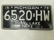 1979 Michigan Great Lake State License Plate 6520-HW