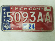 1976 (1978 Tag) Michigan License Plate 5093AA