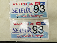 2002 Washington Seafair Experience Summer! License Plate 93 Pair