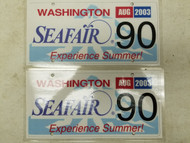2003 Washington Seafair Experience Summer! License Plate 90 Pair